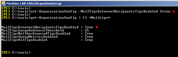 set-OrganizationConfig -MailTipsExternalRecipientsTipsEnabled $true
