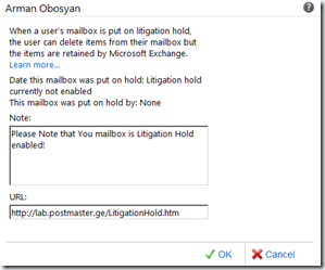 Exchange 2010 SP1 ECP Litigation Hold