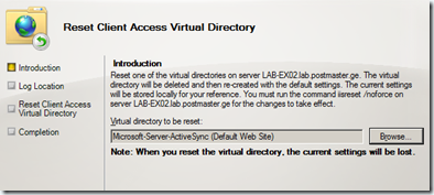 Exchange 2010 SP1 Reset Client Access Virtual Directory