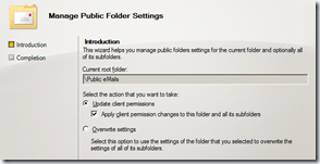 Exchange 2010 SP1 Manage Public Folder Settings