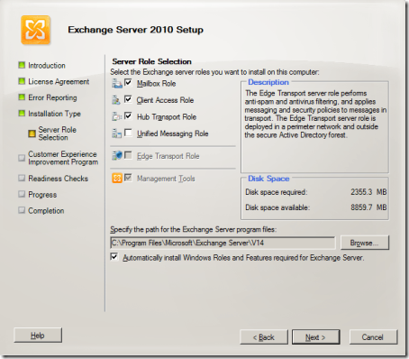 Exchange 2010 SP1 Setup